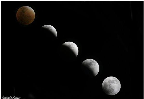 Sequência de imagens mostra o eclipse e superlua vistos do RN